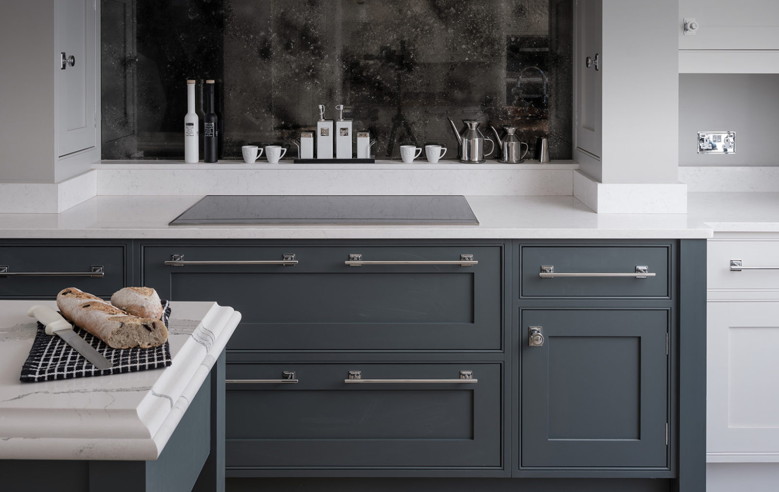 white & grey kitchen